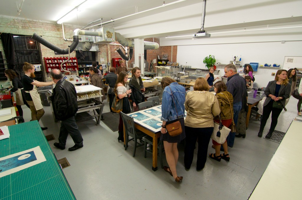 Demonstrations occured periodically throughout the night for different types of printmaking methods.