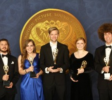 """The sound team of SCAD student Adam Nelson's """"Sea Odyssey"""" after winning the MPSE's Verna Fields Award. Photo by Peter Zakhary / Tilt"""
