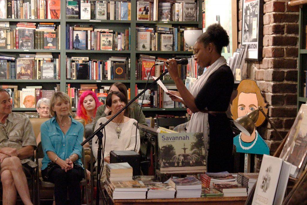 Ariel Felton performs her humor story.
